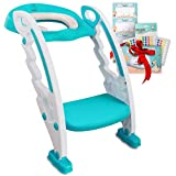 BABYSEATER Toilet Training Seat with Ladder and Handles for Toddlers, Turquoise