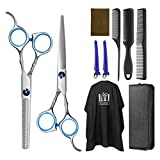 Frcolor Hair Cutting Scissors Hairdressing Thinning Shears Kit with Barber Cape Hair Thinning Cutting Combs and Black Case,Professional Upgraded Haircut Set