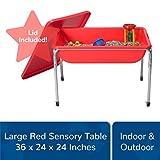 Children's Factory 24' Large Sensory Table & Lid Set, Preschool/Homeschool/Playroom, Indoor/Outdoor Play Equipment, Toddler Sand & Water Activity, Red