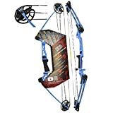 "Southwest Archery Ninja Kids Youth Compound Bow Kit - Fully Adjustable 20-29"" Draw 10-20LB Pull - 55% Let Off - Pre-Installed Arrow Rest - Finger Saver String - RH, Blue"
