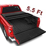 oEdRo Upgraded Soft Tri-fold Truck Bed Tonneau Cover On Top Compatible for 2014-2020 Toyota Tundra with 5.5ft Bed, Fleetside (Incl. Utility Track Bracket Kit)