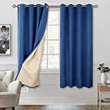 BGment 100% Blackout Curtains with Liner for Bedroom, Grommets Thermal Insulated Textured Linen Lined Curtains for Living Room ( 52 x 63 Inches, 2 Panels, Dark Blue )