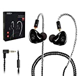 in-Ear Monitors, [Newest Updated Version] Wired Earbuds Headphones/Earphones/Headset Dual Drivers with MMCX Detachable Cables, Noise-Isolating Sweatproof Earphones HiFi Stereo (Black)