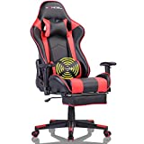 Office Desk Chair Gaming Chair High Back Computer Chair Ergonomic Adjustable Racing Chair Executive PC Chair with Headrest,Massager Lumbar Support & Retractible Footrest (Red)