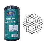 MTB PVC Hexagonal Poultry Netting Chicken Wire 12' x50' x 1' Mesh 20GA Black