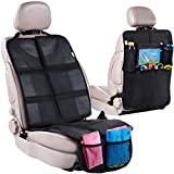 Car Seat Protector with Thickest Padding + Backseat Car Organizer, XL Largest Car Seat Cover Protector for Child Baby Carseat, Waterproof & Durable 600D Fabric, Kick Mat Back Seat w/ Storage Pockets
