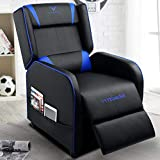 VIT Gaming Recliner Chair Racing Style Single PU Leather Sofa Modern Living Room Recliners Ergonomic Comfortable Home Theater Seating (Blue)