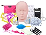 Eyelash Extension kit, Missice Professional Eyelashes Kit False Eyelashes Extension Glue Tool Practice Kit for Makeup Practice Eye Lashes Graft with Mannequin Training Head