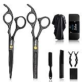 Sirabe 10 Pcs Hair Cutting Scissors Set, Professional Haircut Scissors Kit with Cutting Scissors,Thinning Scissors, Comb,Cape, Clips, Black Hairdressing Shears Set for Barber, Salon, Home