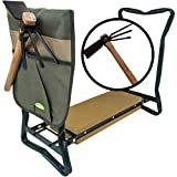 Garden Kneeler and Seat Heavy Duty : This Garden Stool Includes Two Garden Accessories a Hoe Garden Tool and Pouch. They Make Great Gardening Gifts for Women, Men, and Seniors. by Truly Garden