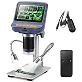 Koolertron 4.3 inch 1080P LCD Digital USB Microscope with 10X-220X Magnification Zoom,8 LED Adjustable Light,Camera Video Recorder for Phone Repair Soldering Tool Jewelry Appraisal Biologic Use