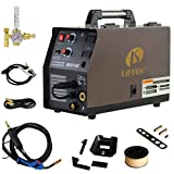 LOTOS MIG140 140 Amp MIG Wire Welder, Flux Core & Aluminum Gas Shielded Welding with 2T/4T Switch Argon Regulator, Metal Wire Feeder, Black/Red