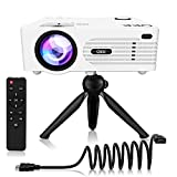 QKK 2020 Upgrade QK01 4500Lux Mini Projector with Stand, Outdoor Projector Full HD 1080P Supported, Compatible with HDMI/AV/USB/VGA/SD Projector for Outdoor Movies