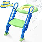 ADOVEL Potty Training Seat with Step Stool Ladder for Toddler, Toilet Trainer for Boy & Girl, Adjustable, Anti-Slip, Foldable, Maximum Supports 165lbs, for 1-7 Yrs Kids (Green & Blue)