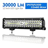 12 Inch LED Light Bar Spot Flood Combo Beam Liteway 30000 LM Triple Row Light Bar Off Road Driving Led Work Lights for UTV ATV Jeep Truck Boat Waterproof