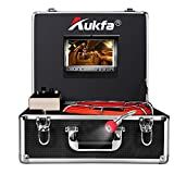 Aukfa Sewer Borescope Camera 65ft with Distance Counter Snake Cam Video Sewer Pipe Inspection Equipment 7 inch LCD Monitor Duct HVAC 1000TVL Sony CCD Endoscope Waterproof Ip68 Cable 20M (No DVR)