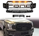 VZ4X4 Front Grille Fits for 2018-2019 2020 FORD F150 ABS Mattle Raptor Style Honeycomb Grill with Replaceable Letter - Matte Black