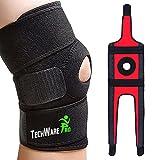 TechWare Pro Knee Brace Support - Relieves ACL, LCL, MCL, Meniscus Tear, Arthritis, Tendonitis Pain. Open Patella Dual Stabilizers Non Slip Comfort Neoprene. Adjustable Bi-Directional Straps - Medium
