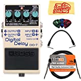 Boss DD-7 Digital Delay Bundle with Instrument Cable, Patch Cable, Picks, and Austin Bazaar Polishing Cloth