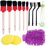 JANYUN 13 Pcs Auto Detailing Brush Set for Cleaning Car Motorcycle Automotive Cleaning Wheels, Dashboard, Interior, Exterior, Leather, Air Vents, Emblems