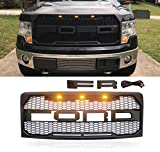 VZ4X4 Front Grill for F150 Ford F-150 2009-2014, Raptor Style Grille, Matte Black