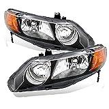 AmeriLite Replacement Headlights Black Housing for 2006-2011 Honda Civic Sedan 4 Door/Hybrid - Passenger and Driver Side