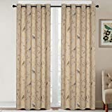 H.VERSAILTEX Blackout Curtains for Bedroom 84 Inches Length Thermal Insulated Birds Rustic Printed Curtain Drapes for Living Room Energy Efficient Room Darkening Home Decoration Curtains Pair, Taupe