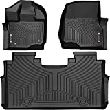 oEdRo Floor Mats Liners Compatible for 2015-2020 Ford F-150 SuperCrew Cab-Unique Black TPE All-Weather Guard, Includes 1st & 2nd Front Row and Rear Floor Liner Full Set