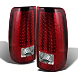 For 03-06 Chevy Silverado 04-06 GMC Sierra Pickup Truck Red Clear LED Tail Lights Brake Lamps Pair Set