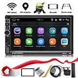 Double Din Android 8.1 Car Stereo in-Dash GPS Navigation Support Compatible with Bluetooth 4.0, WiFi/3G, Mirror Link, Car Radio Audio Vehicle Head Unit with Free Rear Camera and Car Remote