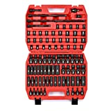 MIXPOWER 3/8'' Drive Master Impact Socket Set, 87-Piece Deep & Standard SAE and Metric,CR-MO, 1/4-Inch to 3/4-Inch and 6-19 mm, Impact Universal Sockets, Inverted Star Sockets, Extension Bar & Adapter