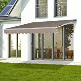 Creamy 13'x8' Manual Awning Canopy Patio Deck Retractable Sun Shade Shelter