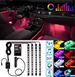 Led Interior Car Lights, Controller Led Lights for Cars, Multicolor Music Underglow Lighting Kits with Wireless Control and Sound Active Function, Car Charger Included, DC 12V