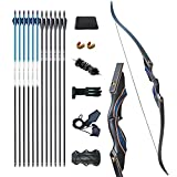 D&Q Hunting Bow and Arrow for Adults Recurve Bows Archery Set Adult Handmade Bow 58' 30-50 lbs LongBow Kit with Carbon Arrows Right Hand Outdoor Hunting Shooting (40lbs)