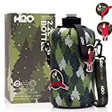 H2O Capsule 2.2L Half Gallon Water Bottle with Storage Sleeve – Tritan BPA Free Large Water Bottle/2.2 Liter (74 Ounce) Big Sports Bottle Jug with Handle (Green)