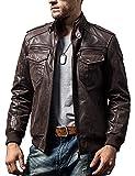 FLAVOR Men Biker retro Brown Leather Motorcycle Jacket Genuine Leather jacket (X-Large(US standard), Dark Brown)