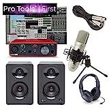 Focusrite Solo Home Recording Studio Bundle Speakers Mic Pro Tools First & More