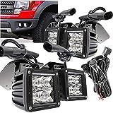 UFRAME Fits 2011 2012 2013 2014 Ford Raptor 6000k LED front bumper Fog light Kit w/Bracket/Wiring/Switch/Built-in LED