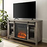 Walker Edison Furniture Company Tall Farmhouse Metal Mesh Barndoor and Wood Universal Fireplace Stand or TV's up to 55' Flat Screen Living Room Storage Entertainment Center, 48 Inch, Grey Wash