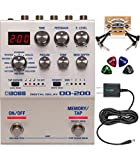 BOSS DD-200 Digital Delay Effects Pedal Bundle with Blucoil Slim 9V Power Supply AC Adapter, 2-Pack of Pedal Patch Cables, and 4-Pack of Celluloid Guitar Picks