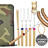 Wup Extendable Rotating Marshmallow Roasting Sticks Set of 5 Smores Sticks for Fire Pit Campfire Roasting Sticks 30 inch