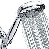 High Pressure Handheld Shower Head 6-Setting - Luxury 5' Hand held Rain Shower with Hose - Powerful Shower Spray Even with Low Water Pressure in Supply Pipeline - Low Flow Rainfall Showerhead