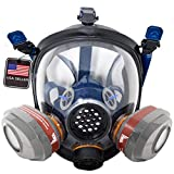 PT-101 Full Face Organic Vapor Respirator with Dual P-A-3 Carbon Activated Charcoal Filters