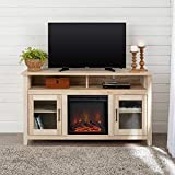Walker Edison Furniture Company Rustic Wood and Glass Tall Fireplace Stand for TV's up to 64' Flat Screen Living Room Storage Cabinet Doors and Shelves Entertainment Center, 32 Inches, White Oak