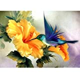 MXJSUA DIY 5D Diamond Painting Full Round Drill Kit Picture Home Wall Decor Hummingbird Collecting Nectar Tiny Wing 12X16Inch