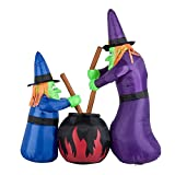 HOMCOM 5.5' Witches with Cauldron LED Light Outdoor Inflatable Halloween Yard Decoration