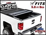 Gator Pro Tri-Fold (fits) 2014-2018 Chevy Silverado GMC Sierra 5.8 FT Bed Only Soft Folding Tonneau Truck Bed Cover (GSF0132) Made in The USA