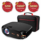 RAGU Z498 Mini Projector, 2019 Upgraded Full HD 1080P 180' Display Supported, 50,000 Hrs Home Movie Projector for PC/MAC/DVD/TV/Xbox/Movies/Games/Smartphone with HDMI/VGA/USB/AV/SD (Black)