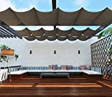TANG Upgraded Slide on Wire Canopy Retractable Awning Replacement Cover for Pergola Terrace Deck Patio Porch Restaurant Cafe' Brown 4'X16'