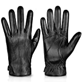 Genuine Sheepskin Leather Gloves For Men, Winter Warm Touchscreen Texting Cashmere Lined Driving Motorcycle Gloves By Alepo(Black-L)